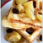 Buttermilk Waffles with Caramel Apple and Raisin Sauce