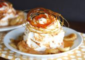 Salted Caramel Banana Pudding Cheesecake Flambé