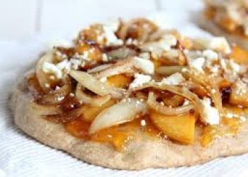 Mini Caramelized Peach & Onion Flatbreads