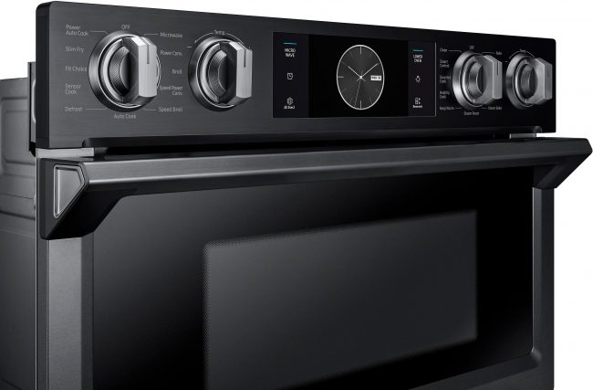 A Microwave And Oven With Wifi Seriously The New Samsung Wall Combo You Can Lay In Bed Bring To Temp