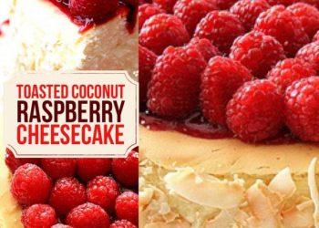 toasted coconut raspberry cheesecake