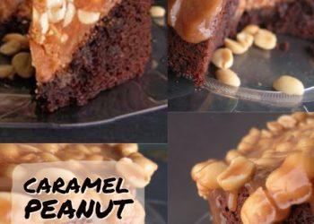 caramel peanut brownie cake
