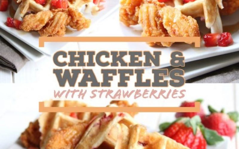 chicken and waffles with strawberries