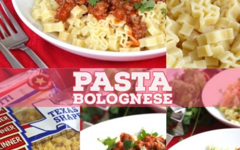 photo of pasta bolognese, using texas shaped noodles
