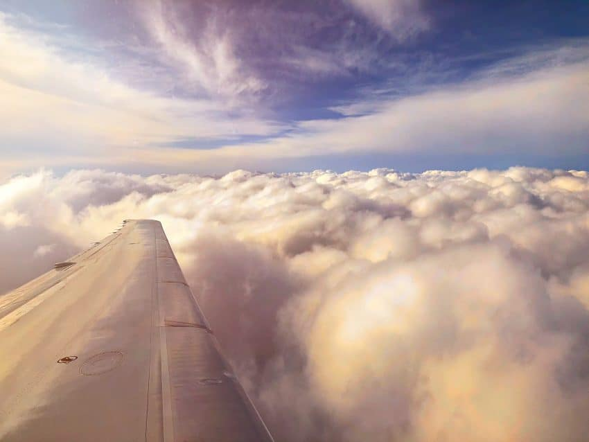 view of clouds from airplane