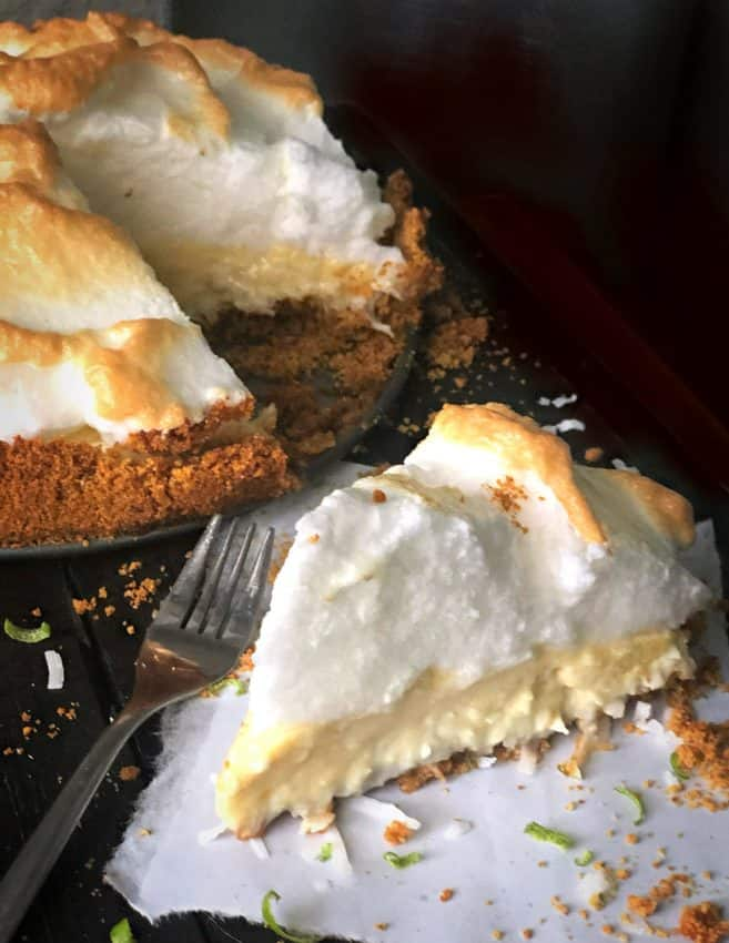 slice of key lime coconut pie